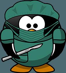 Pinguino cirujano de verde
