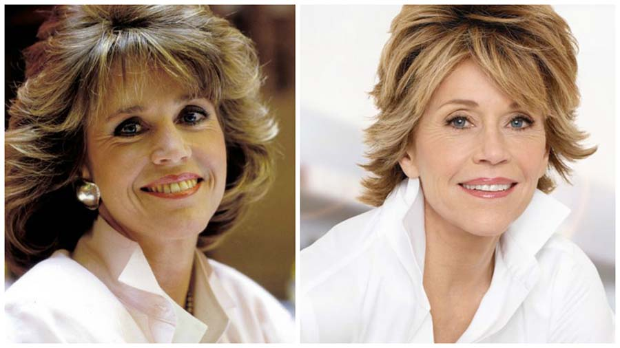 El antes y después de la blefaroplastia de la actriz Jane Fonda es evidente.